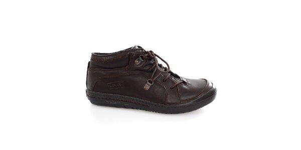 Pánské tmavě hnědé šněrovací boty Levis