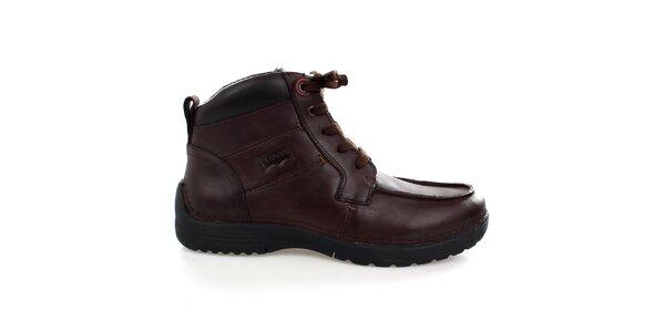 Pánské tmavě hnědé kožené kotníkové boty Levis