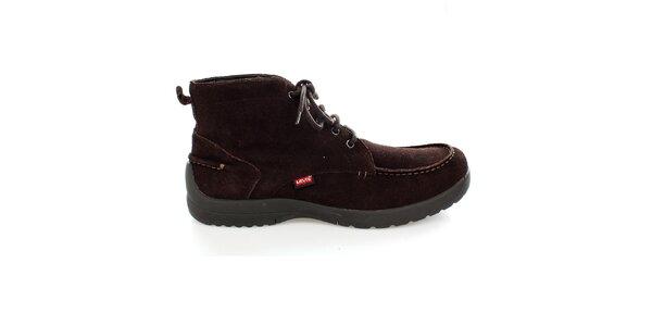 Pánské hnědé semišové kotníkové boty Levis