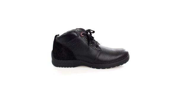 Pánské pevné černé kožené boty Levis
