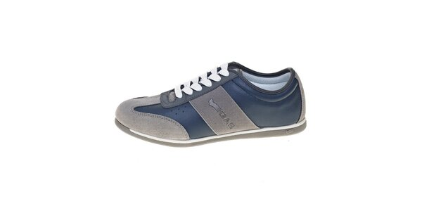 Pánské šedo-modré kožené tenisky GAS