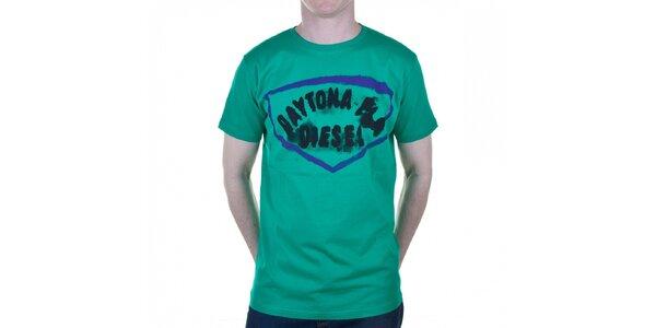 Pánské tyrkysové tričko Diesel s potiskem