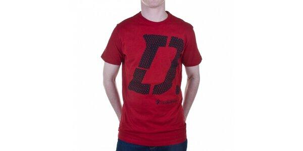 Pánské temně červené tričko Diesel s potiskem