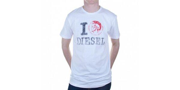 Pánské bílé tričko Diesel s potiskem