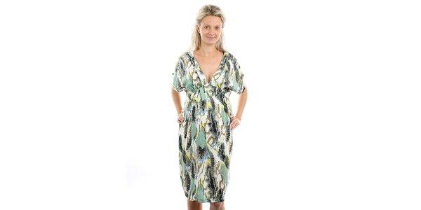 Dámské těhotenské zelenkavé šaty s pestrým vzorem Next Maternity