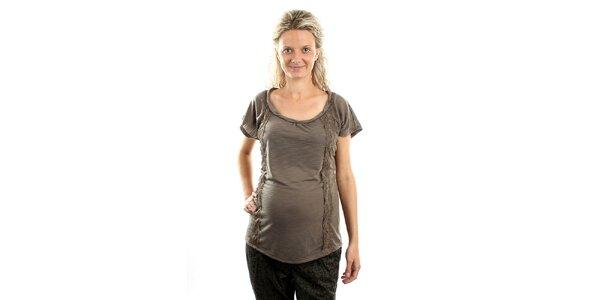 Dámské popelavé těhotenské tričko Next s krajkou