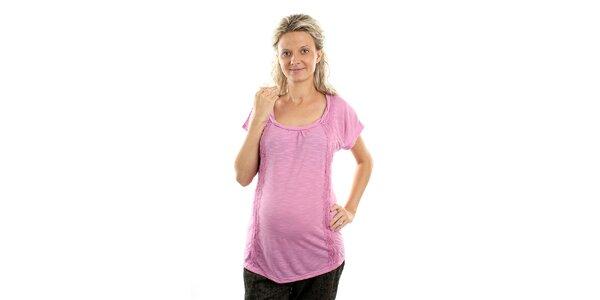 Dámské růžové těhotenské tričko Next s krajkou