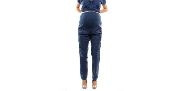 Dámské modré těhotenské kalhoty s pružným nápletem Next Maternity