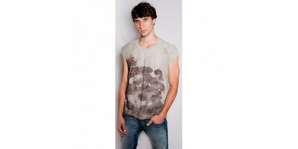 Pánské béžové tričko Diesel s potiskem