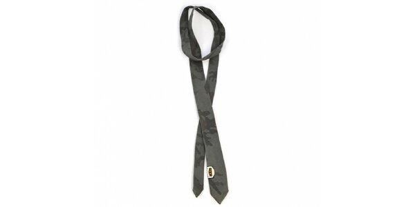 Pánská tmavě šedá kravata Diesel s potiskem
