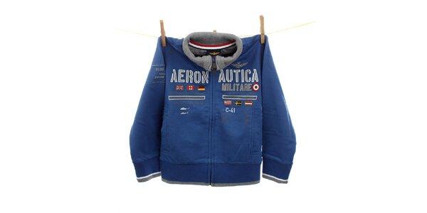 Dětská modrá mikina s leteckými nášivkami Aeronautica Militare