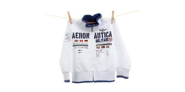 Dětská bílá mikina s leteckými nášivkami Aeronautica Militare