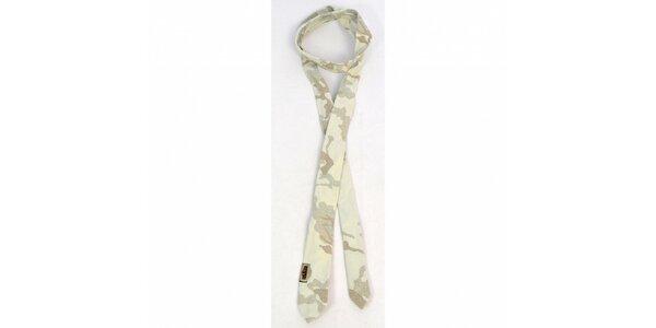 Pánská béžová kravata Diesel s potiskem