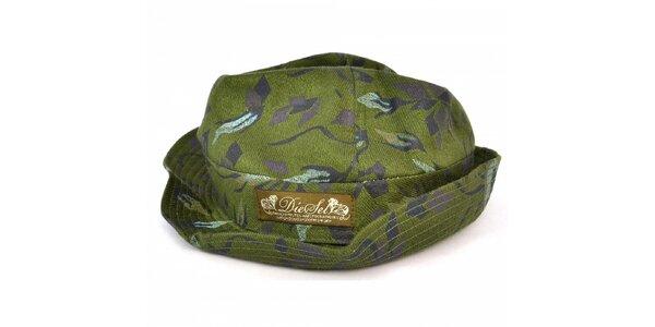 Pánský tmavě zelený klobouk s potiskem