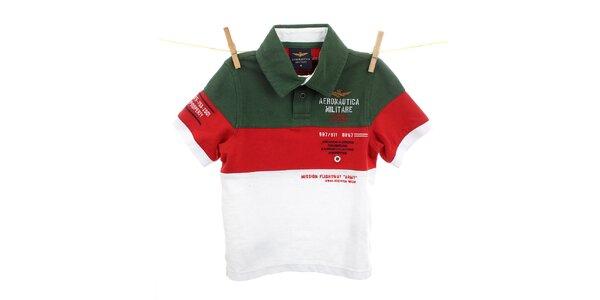 Dětské zeleno-červeno-bílé polo Aeronautica Militare