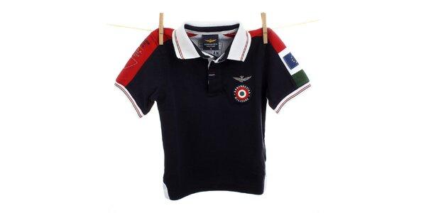 Dětské černé polo s červenými rameny Aeronautica Militare
