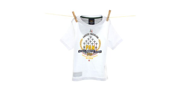 Dětské bílé tričko s žlutým potiskem Aeronautica Militare