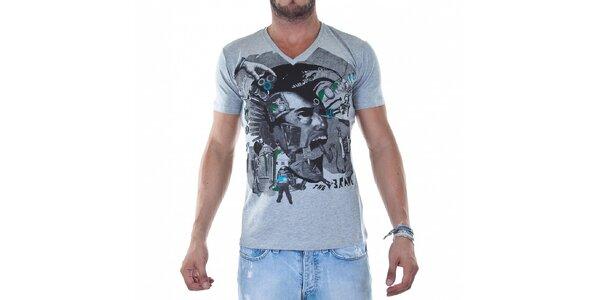 Pánské světle šedé tričko Diesel s potiskem