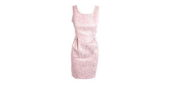 "Dámské růžové ""brokátové"" šaty Yumi"