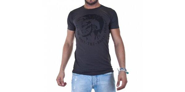 Pánské tmavě šedé tričko Diesel s potiskem