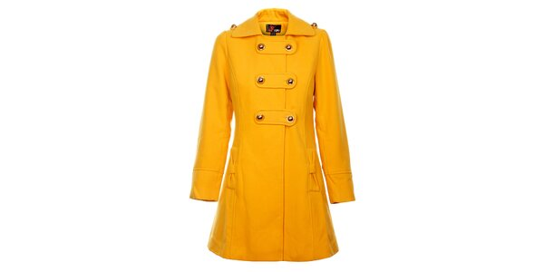 Dámský hořčičový kabát Yumi se zlatými knoflíky