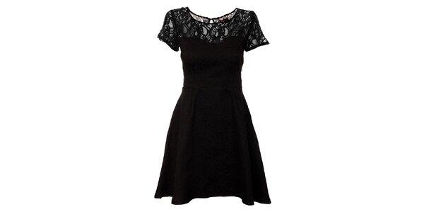 Dámské černé brokátové šaty Yumi s krajkovým živůtkem