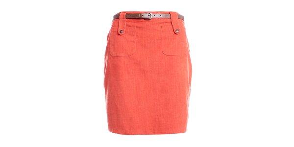 Dámská oranžová pouzdrová sukně do pasu Yumi