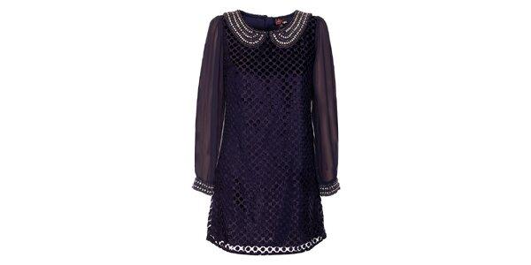 Dámské temně modré šaty Yumi s korálkovým límečkem