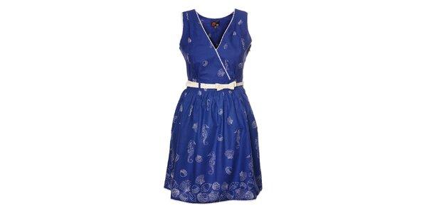 Dámské indigové šaty Yumi s bílým potiskem