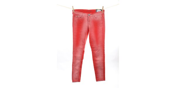Dámské korálově červené skinny džíny Pepe Jeans