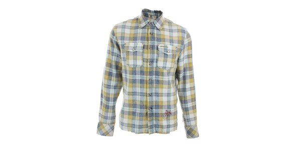 Pánská žluto-modře kostkovaná košile Pepe Jeans
