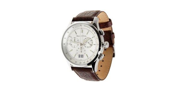 Ocelové hodinky Marc O´Polo s tmavě hnědým koženým řemínkem a chronografem