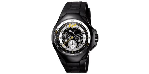 Pánské černé ocelové hodinky s pryžovým řemínkem Puma