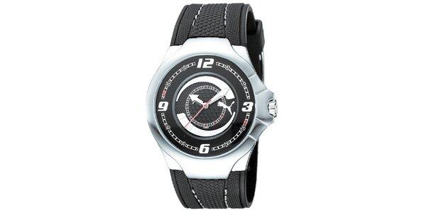 Pánské černo-stříbrné analogové hodinky Puma