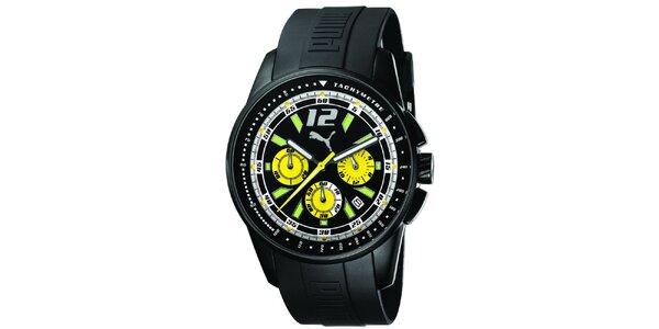 Pánské černé ocelové hodinky se zelenými detaily Puma