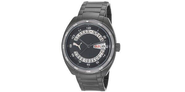Pánské černé ocelové hodinky s bílými číslicemi Puma