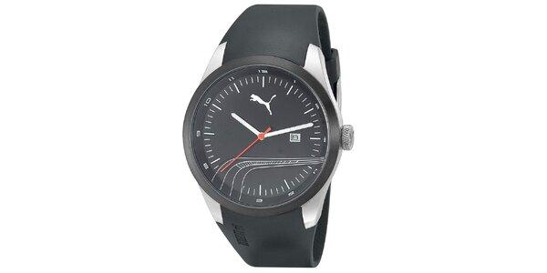 Pánské černé hodinky s ozdobným proužkem Puma