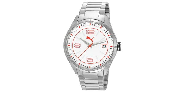 Pánské stříbrné hodinky s bílým ciferníkem Puma
