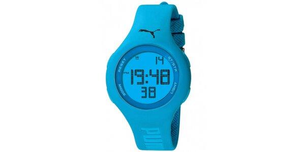 Dámské modré digtitání hodinky s gumovým řemínkem Puma