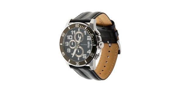 Marc O´Polo hodinky s černým koženým řemínkem a chronografem