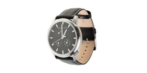 Marc O´Polo hodinky s černým koženým řemínkem a černým ciferníkem