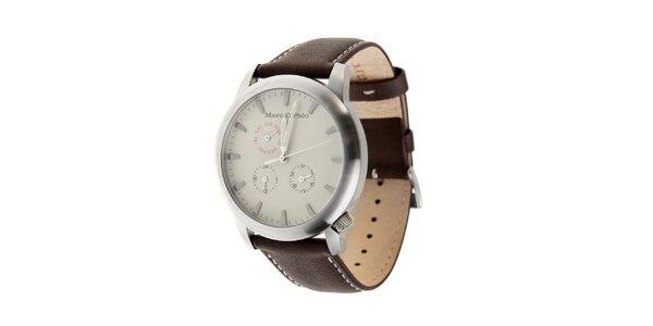 Marc O´Polo hodinky s tmavě hnědým koženým řemínkem a bílým ciferníkem