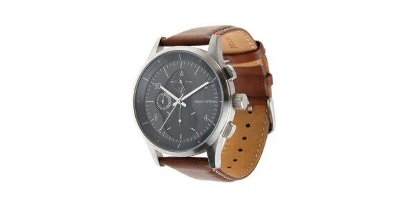 Pánské hodinky Marc O´Polo s hnědým koženým páskem