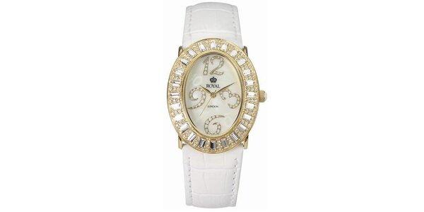 Dámské zlaté hodinky s kamínky a bílým řemínkem Royal London