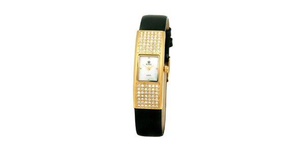 Dámské zlaté hodinky s kamínky Royal London