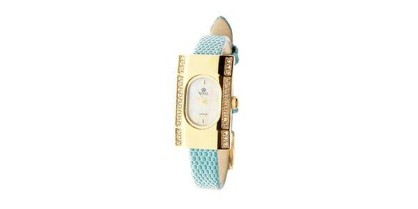 Dámské zlaté hodinky s tyrkysovým řemínkem Royal London