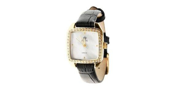 Dámské zlaté zaoblené hodinky s kamínky Royal London