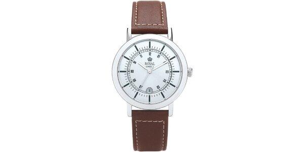 Kulaté analogové hodinky s bílým ciferníkem Royal London