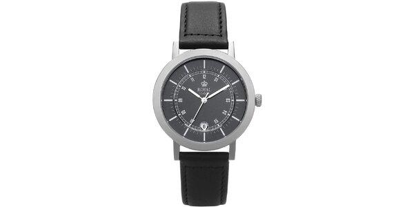Kulaté analogové hodinky s černým ciferníkem Royal London