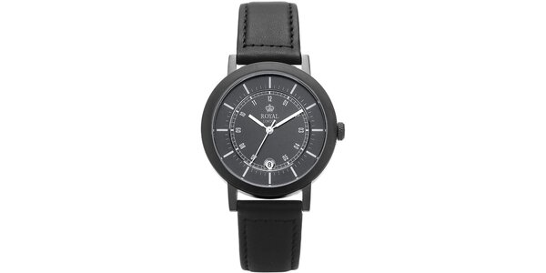 Kulaté černé analogové hodinky s černým ciferníkem Royal London